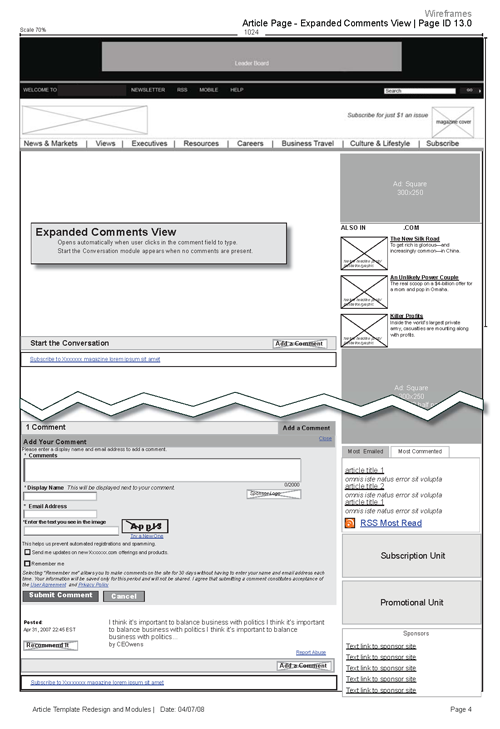 Sample Commenting Template Wireframes [InDesign] at Chris